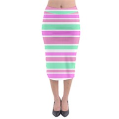Pink Green Stripes Midi Pencil Skirt by BrightVibesDesign