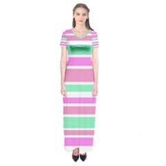 Pink Green Stripes Short Sleeve Maxi Dress by BrightVibesDesign