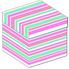 Pink Green Stripes Storage Stool 12