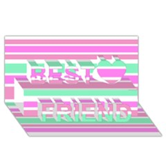 Pink Green Stripes Best Friends 3D Greeting Card (8x4)