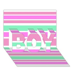 Pink Green Stripes Boy 3d Greeting Card (7x5)