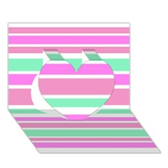 Pink Green Stripes Heart 3d Greeting Card (7x5)  by BrightVibesDesign