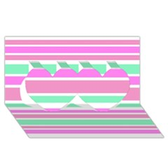 Pink Green Stripes Twin Hearts 3d Greeting Card (8x4)