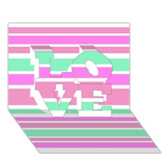 Pink Green Stripes LOVE 3D Greeting Card (7x5)