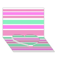 Pink Green Stripes Heart Bottom 3D Greeting Card (7x5)