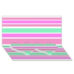 Pink Green Stripes Twin Heart Bottom 3D Greeting Card (8x4)