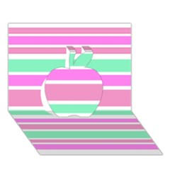 Pink Green Stripes Apple 3d Greeting Card (7x5)  by BrightVibesDesign