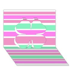 Pink Green Stripes Clover 3D Greeting Card (7x5)