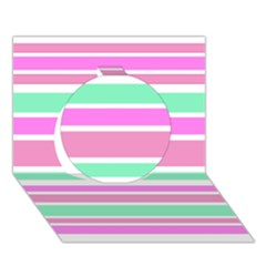 Pink Green Stripes Circle 3D Greeting Card (7x5)