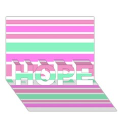 Pink Green Stripes Hope 3d Greeting Card (7x5)  by BrightVibesDesign