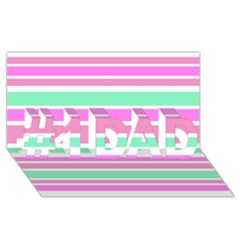 Pink Green Stripes #1 DAD 3D Greeting Card (8x4)