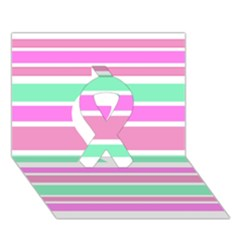 Pink Green Stripes Ribbon 3d Greeting Card (7x5)  by BrightVibesDesign