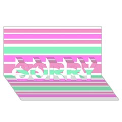 Pink Green Stripes SORRY 3D Greeting Card (8x4)