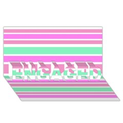 Pink Green Stripes ENGAGED 3D Greeting Card (8x4)