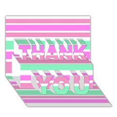 Pink Green Stripes THANK YOU 3D Greeting Card (7x5)