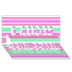 Pink Green Stripes Laugh Live Love 3D Greeting Card (8x4)