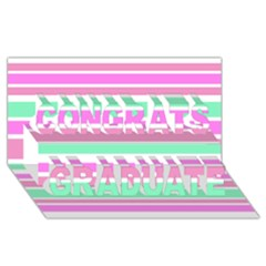 Pink Green Stripes Congrats Graduate 3d Greeting Card (8x4)  by BrightVibesDesign