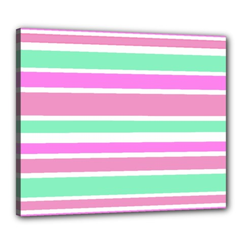 Pink Green Stripes Canvas 24  x 20