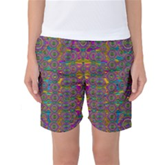 Peacock Eyes In A Contemplative Style Women s Basketball Shorts by pepitasart