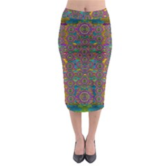 Peacock Eyes In A Contemplative Style Midi Pencil Skirt