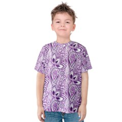 Purple Paisley Doodle Kid s Cotton Tee by KirstenStar