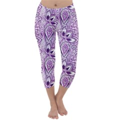 Purple Paisley Doodle Capri Winter Leggings  by KirstenStar
