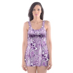 Purple Paisley Doodle Skater Dress Swimsuit