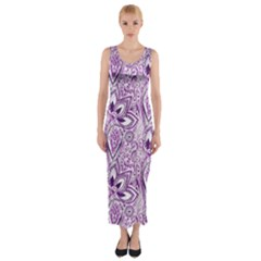 Purple Paisley Doodle Fitted Maxi Dress by KirstenStar