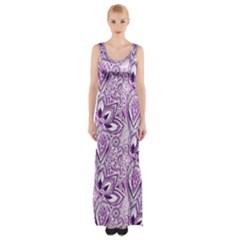 Purple Paisley Doodle Maxi Thigh Split Dress by KirstenStar