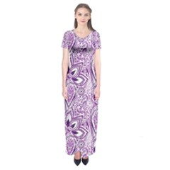 Purple Paisley Doodle Short Sleeve Maxi Dress by KirstenStar