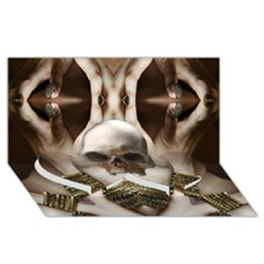 Skull Magic Twin Heart Bottom 3d Greeting Card (8x4)  by icarusismartdesigns