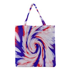 Groovy Red White Blue Swirl Grocery Tote Bag by BrightVibesDesign