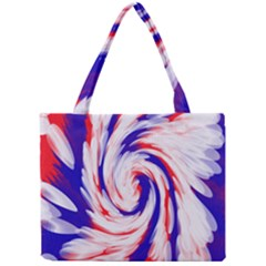 Groovy Red White Blue Swirl Mini Tote Bag by BrightVibesDesign