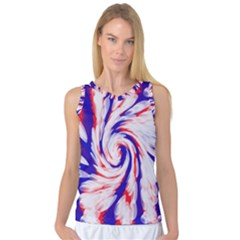 Groovy Red White Blue Swirl Women s Basketball Tank Top by BrightVibesDesign