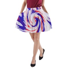 Groovy Red White Blue Swirl A-Line Pocket Skirt by BrightVibesDesign