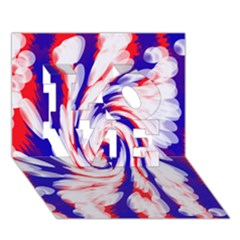 Groovy Red White Blue Swirl Love 3d Greeting Card (7x5)  by BrightVibesDesign