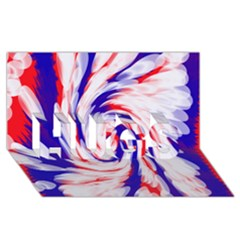 Groovy Red White Blue Swirl Hugs 3d Greeting Card (8x4)  by BrightVibesDesign