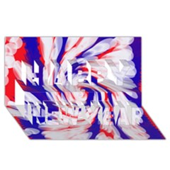Groovy Red White Blue Swirl Happy New Year 3d Greeting Card (8x4)  by BrightVibesDesign