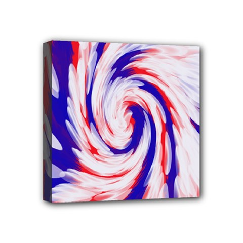 Groovy Red White Blue Swirl Mini Canvas 4  X 4  by BrightVibesDesign