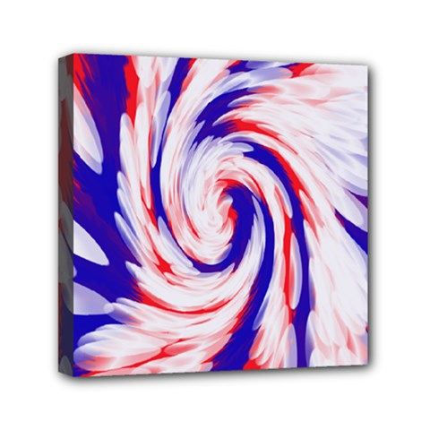 Groovy Red White Blue Swirl Mini Canvas 6  X 6  by BrightVibesDesign