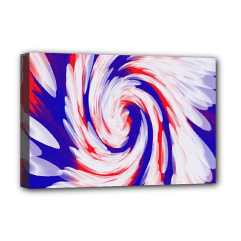 Groovy Red White Blue Swirl Deluxe Canvas 18  X 12   by BrightVibesDesign