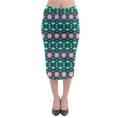 Fancy Teal Red Pattern Midi Pencil Skirt by BrightVibesDesign