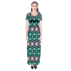 Fancy Teal Red Pattern Short Sleeve Maxi Dress