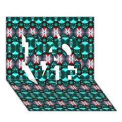 Fancy Teal Red Pattern Love 3d Greeting Card (7x5)  by BrightVibesDesign