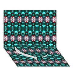 Fancy Teal Red Pattern Heart Bottom 3d Greeting Card (7x5)