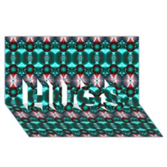 Fancy Teal Red Pattern Hugs 3d Greeting Card (8x4)  by BrightVibesDesign