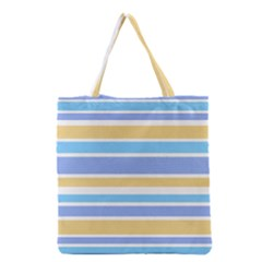 Blue Yellow Stripes Grocery Tote Bag by BrightVibesDesign