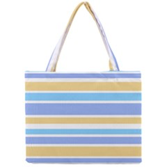 Blue Yellow Stripes Mini Tote Bag by BrightVibesDesign