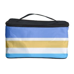 Blue Yellow Stripes Cosmetic Storage Cases by BrightVibesDesign