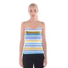Blue Yellow Stripes Spaghetti Strap Top by BrightVibesDesign